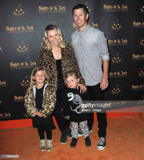 Beverley Mitchell and Michael Cameron with children arrive for Nights Of The Jack Friends Family VIP Preview Night held at King Gillette Ranch on...