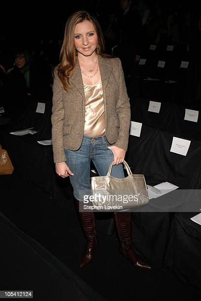 Beverley Mitchell during Olympus Fashion Week Fall 2005 Kenneth Cole Front Row and Backstage at Bryant Park in New York City New York United States