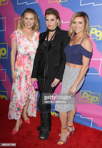 Beverley Mitchell Jodie Sweetin and Christine Lakin attend the premiere of Pop TV's 'Hollywood Darlings' at iPic Theaters on April 6 2017 in Los...
