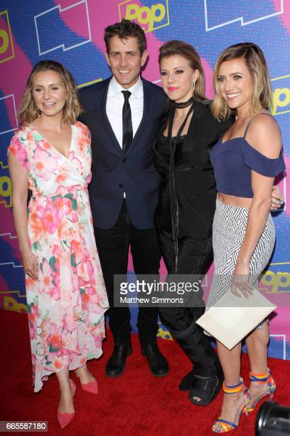 Beverley Mitchell Joey McIntyre Jodie Sweetin and Christine Lakin attend the premiere of Pop TV's 'Hollywood Darlings' at iPic Theaters on April 6...