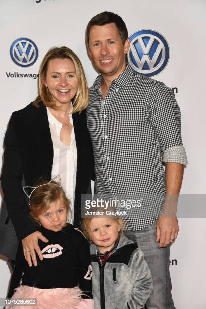 Beverley Mitchell Michael Cameron and children Kenzie Cameron and Hutton Michael Cameron attend the Volkswagen DriveIn Event at Goya Studios on...