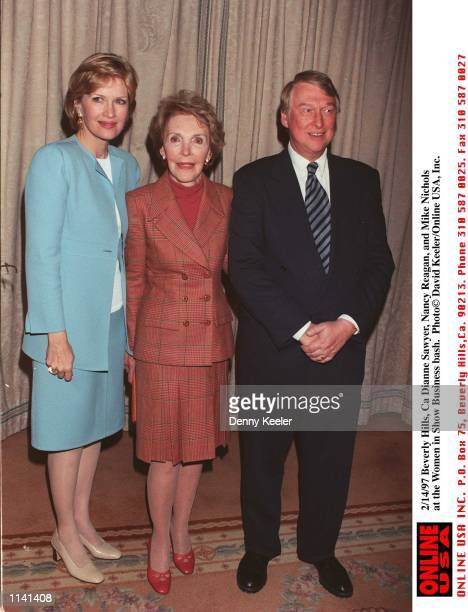 Beverly Hills Ca Dianne Sawyer Nancy Reagan and Mike Nichols at the Women in Show Business bash at Horbrys