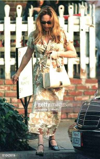 02/03/00 Beverly Hills Ca Dukes Of Hazzard Star Catherine Bach Who Played Daisy Duke Leaving The Ivy Restaurant