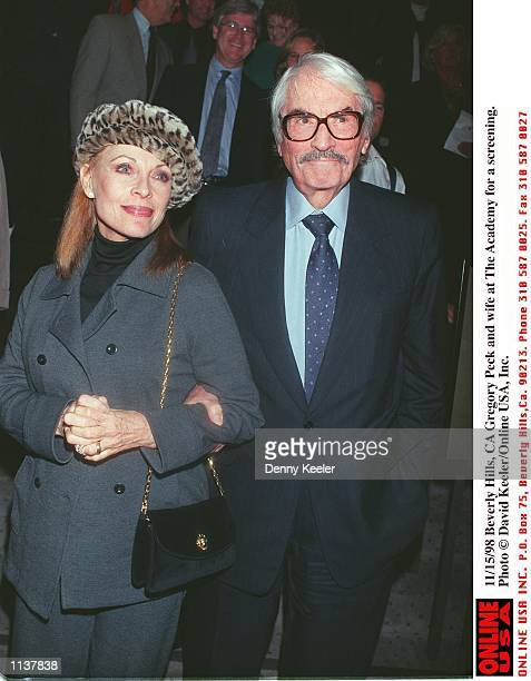 Beverly Hills CA Gregory Peck and wife at the Academy for a screening