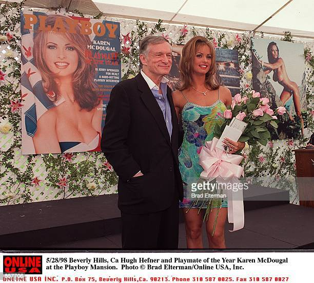 Beverly Hills Ca Hugh Hefner and Playmate of the Year Karen McDougal at the Playboy Mansion