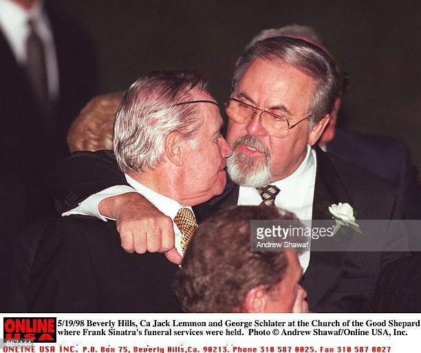Beverly Hills CA Jack Lemmon and George Schlater at the Church of the Good Shepard where Frank Sinatra's funeral was held