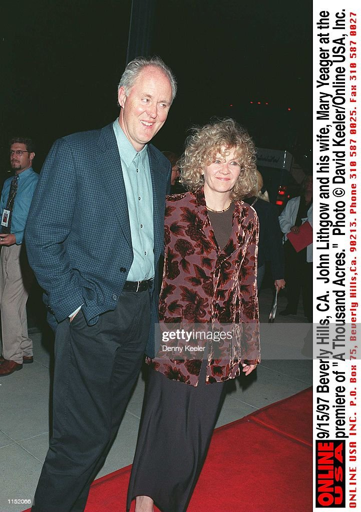 """9/15/97 Beverly Hills, CA. John Lithgow and his wife, Mary Yeager at the premiere of """"A Thousand Acr : News Photo"""