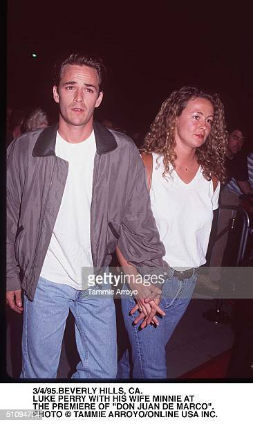 Beverly Hills Ca Luke Perry With His Wife Minnie Sharp At The Premiere Of Don Juan Demarco Starring Marlon Brando