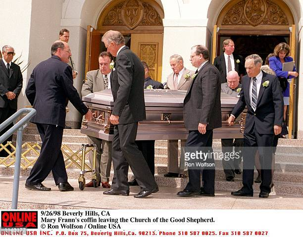 Beverly Hills CA Mary Frann's coffin leaving the Church of the Good Shepherd in Beverly Hills