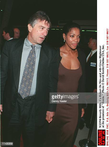 Beverly Hills Ca Robert De Niro and wife Grace Hightower at the premiere of 'Ronin'