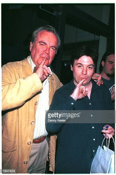 Beverly Hills CA Robert Wagner and Mike Myers give a Dr Evil pose outside Mr Chow's restaurant Photo by David Keeler/Online USA Inc