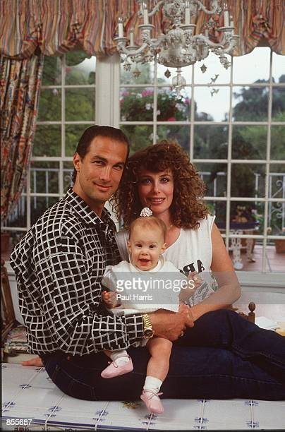 Beverly Hills CA Steven Seagal and his wife actress/supermodel Kelly LeBrock at home when they where married and had their first child They divorced...