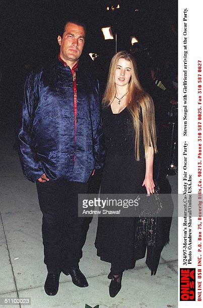 Beverly Hills Ca Steven Seagal With Arissa Wolf Arriving Morton's Resturant For The Vanity Fair PostOscars Party