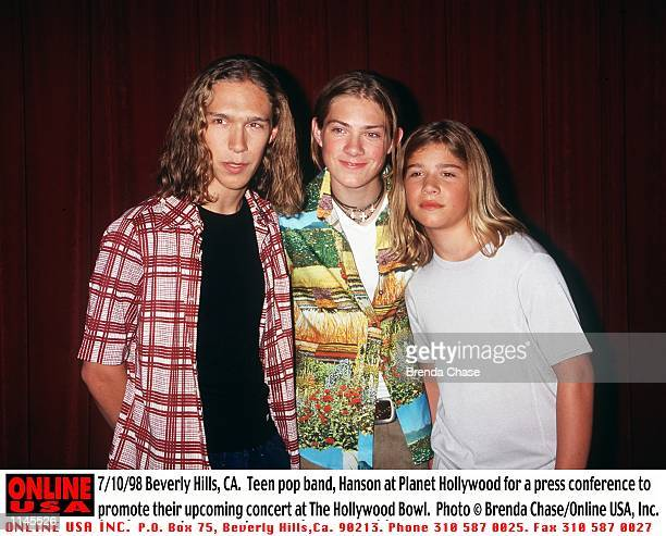 Beverly Hills CA Teen pop band Hanson at Planet Hollywood for a press conference to promote their upcoming concert at The Hollywood Bowl