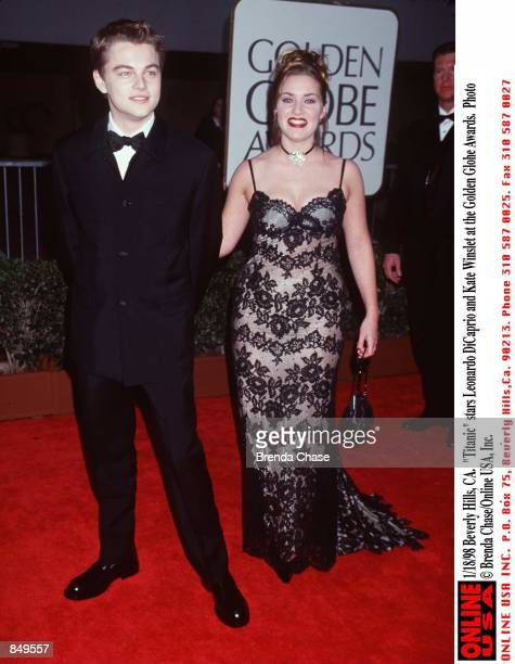 Beverly Hills CA 'Titanic' stars Leonardo DiCaprio and Kate Winslet at the Golden Globe Awards held at the Beverly Hilton