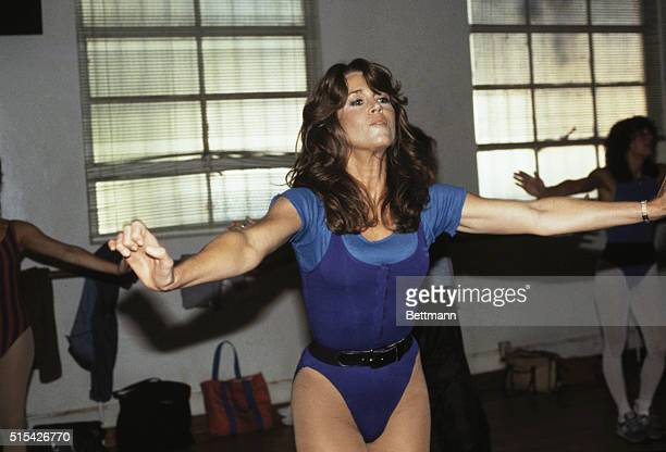 Beverly Hills California Close up of actress Jane Fonda exercising for the press and went on national television to say she is perfectly healthy and...