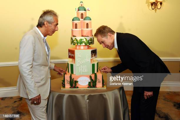 Beverly Hills Hotel Manager Edward Mady and host Warren Beatty attend the 100th anniversary celebration of the Beverly Hills Hotel Bungalows...