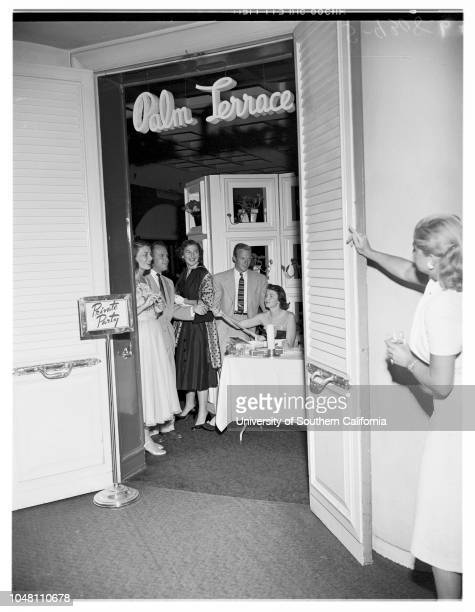 Beverly Hills Hotel Party, 23 June 1951. Mrs Granville Abbott;Winslow Maxwell;Miss Virginia Hobbs;Dick Jackson;Miss Kay Kelly;Miss Bonny Howes;Jerry...