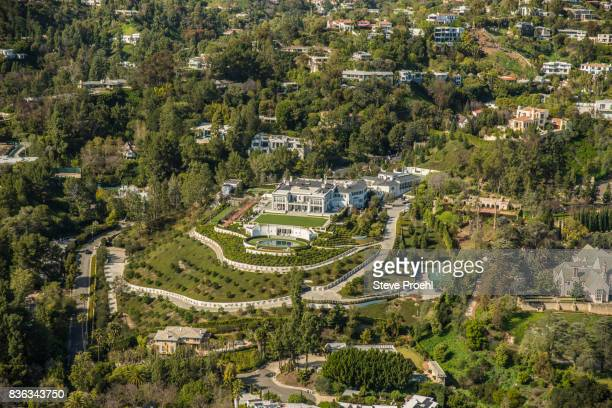 beverly hills mansion - beverly hills california stock pictures, royalty-free photos & images