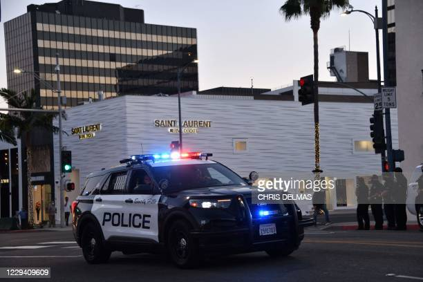 Beverly Hills police officers patrol in their car on November 1, 2020 in Beverly Hills.