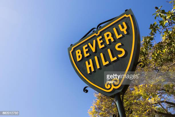 Beverly Hills Shield street sign in California USA