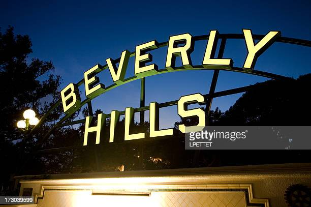 Beverly Hills sign photographed at night with a Long Exposure