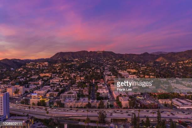 beverly hills under dramatic sky, los angeles, california, usa - beverly hills fotografías e imágenes de stock