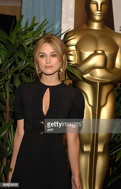 British actress Keira Knightley nominated for Best Actress in a Leading Role in Pride Prejudice poses for photographers as she arrives for the Oscar...