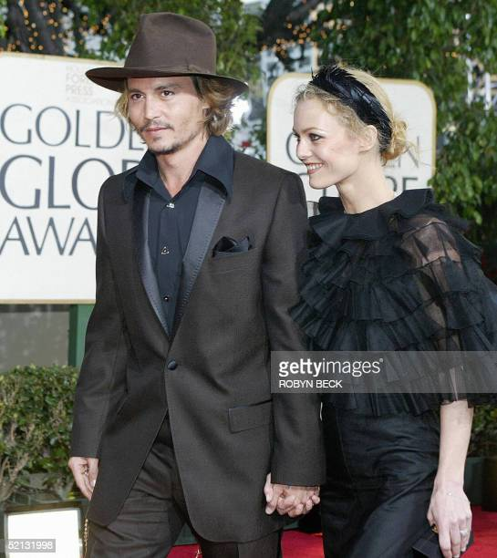 FILES Picture taken 25 January 2004 US actor Johnny Depp and his French wife singer and actress Vanessa Paradis arriving for the 61st Golden Globe...