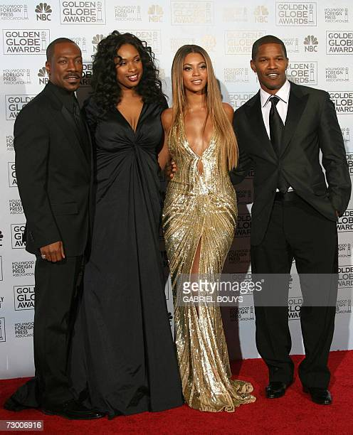 The cast of Dreamgirls which won the best musical or comedy motion picture award poses 15 January 2007 at the 64th Annual Golden Globe Awards in...