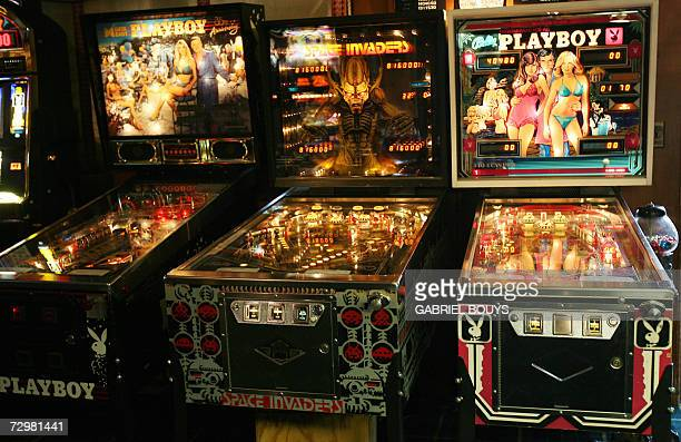 The gaming room of Playboy Magazine publisher Hugh Hefner's property the Playboy Mansion is seen 11 January 2007 in Beverly Hills AFP PHOTO/GABRIEL...