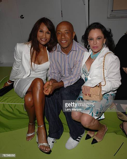 Beverly Johnson Russell Simmons and Nikki Haskell pose at Art Basel Miami Beach at The Delano on December 6 2007 in Miami Beach Florida