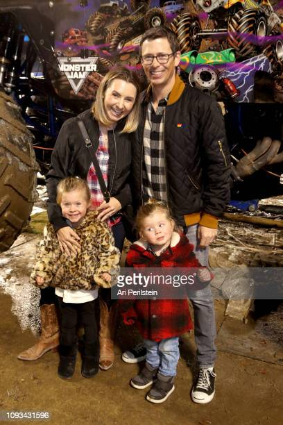 Beverly Mitchell Michael Cameron Hutton Michael Cameron and Kenzie Cameron attend the Monster Jam Celebrity Event at Angel Stadium on January 12 2019...