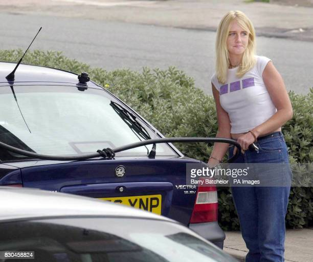Beverly Riley from Shirehampton Bristol after seeing information on Teletext fuels up at the Esso station close to Avonmouth Docks before starting a...