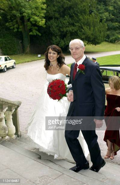 Beverly Turner and her father during Beverly Turner Wedding To James Cracknell - October 10, 2002 at Clearwell Castle.