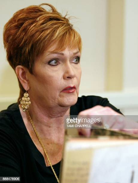 Beverly Young Nelson speaks to the media at a news conference where she presents evidence that Alabama US Senate candidate Roy Moore signed her...