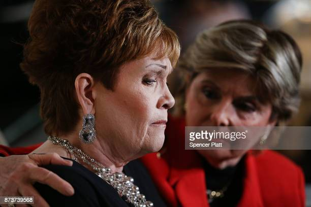 Beverly Young Nelson speaks to the media with her lawyer Gloria Allred at a news conference where she has accused Alabama Republican Senate candidate...
