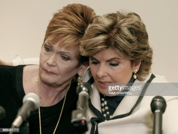 Beverly Young Nelson speaks to the media with her lawyer Gloria Allred at a news conference where she presents evidence that Alabama US Senate...
