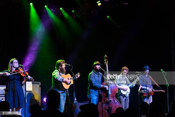 Bevin Foley, Steve Foltz, Casey Houlihan, Travis McNamara, and Will Koster of Trout Steak Revival perform on stage at The Variety Playhouse on...