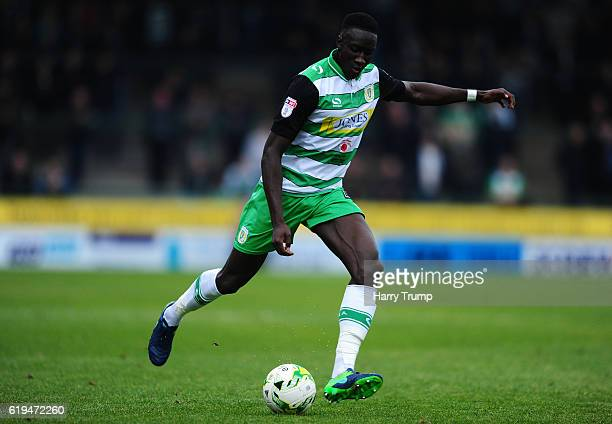 Bevis Mugabi of Yeovil Town during the Sky Bet League Two match between Yeovil Town and Grimsby Town at Huish Park on October 29 2016 in Yeovil...