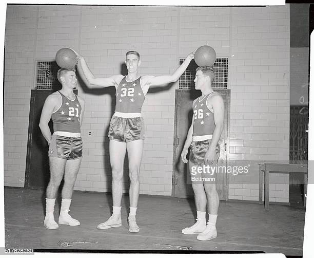 L Bevo Francis and his teammates of Rio Grande College are shown at the 69th regiment armory as they tuned up for their debut at Madison Square...