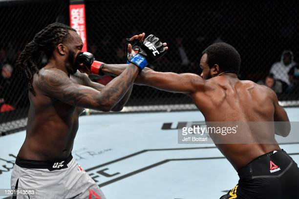 Bevon Lewis punches Dequan Townsend in their middleweight bout during the UFC Fight Night event at PNC Arena on January 25 2020 in Raleigh North...