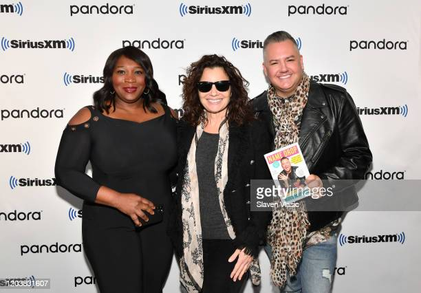 Bevy Smith Fran Drescher and Ross Mathews pose for photos at SiriusXM Studios on February 03 2020 in New York City