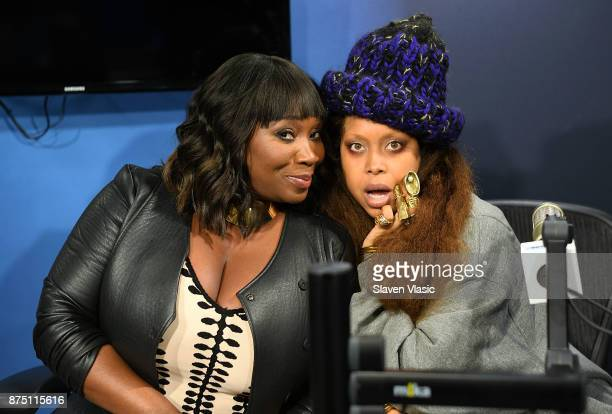 Bevy Smith host of Sirius XM's 'BEVELATIONS' on Radio Andy and singer/songwriter Erykah Badu pose for photo at Radio Andy at SiriusXM Studios on...