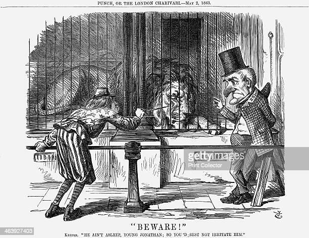 Beware 1863 The keeper says He Ain't Asleep Young Jonathan So You'd Best Not Irritate Him President Lincoln pokes a cautious swordpoint at the quiet...