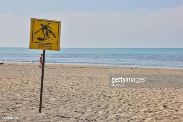 'Beware of Jellyfish' sign along Casuarina Beach in Karainagar Sri Lanka Casuarina Beach is located on the Northern tip of the Karainagar Island off...