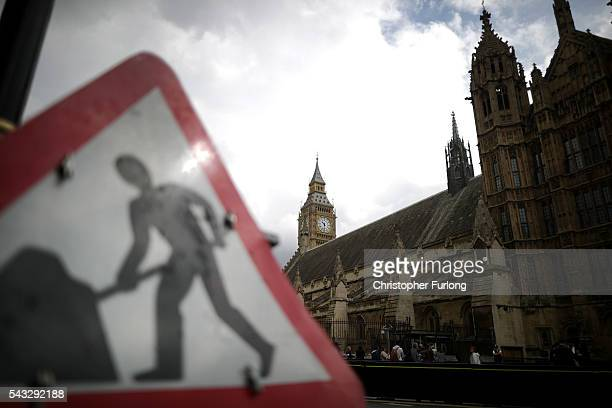 A 'beware roadworks' sign stands outside parliament as David Cameron holds his first cabinet meeting since Brexit on June 27 2016 in London England...