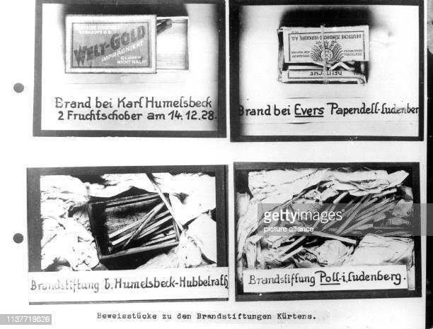 Beweisstücke Streichhölzer und Streichholzschachteln im Fall des Mörders und Brandstifters Peter Kürten Am 22 April 1931 wurde Peter Kürten wegen...