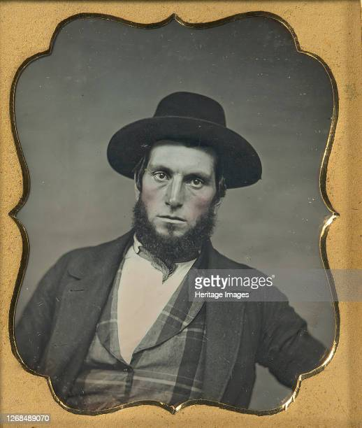 Bewhiskered Man in Hat and Plaid Vest, 1850s. Artist Unknown.