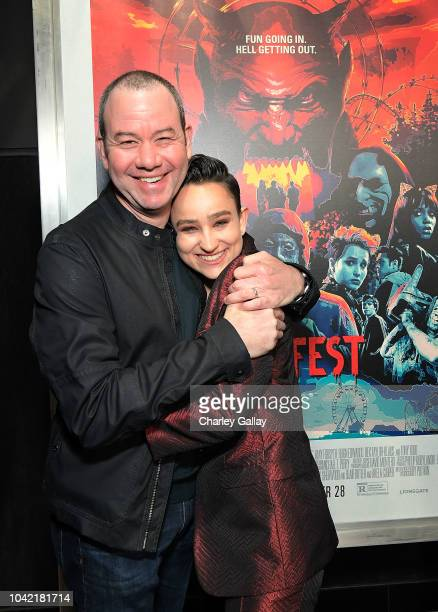 Bex TaylorKlaus and director Gregory Plotkin attend the Opening Night Screening Of HELL FEST at the TCL Chinese 6 Theater on September 27 2018 in...